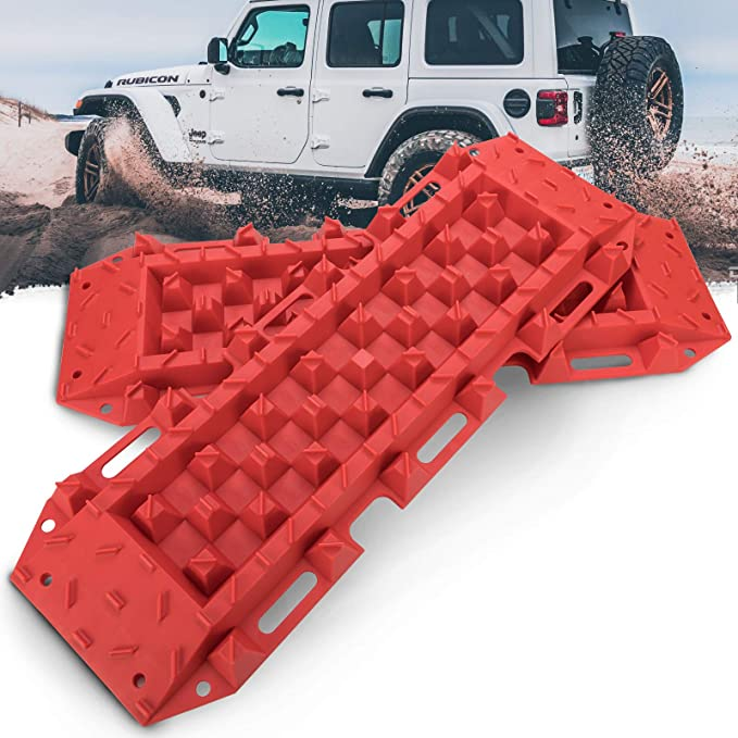 RUGCEL Winch New Recovery Traction Boards ,Yellow Snow Vehicle Extraction Sand Set of 2 Escaper Buddy Traction Mats for Off-Road Mud