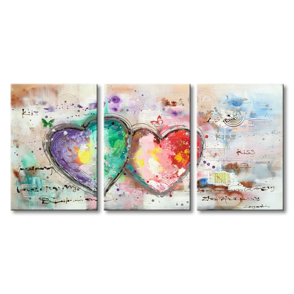 Everfun Handmade Abstract Oil Painting on Canvas 3 Panels Loves Heart Hand Painted Art Modern Texture Artwork Wall Decoration Framed Ready to Hang