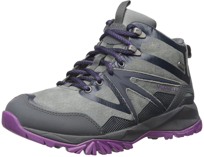Merrell Women's Capra Bolt Leather Mid Waterproof-W Hiking Boot B018W9PMQ2 8 B(M) US|Grey/Purple