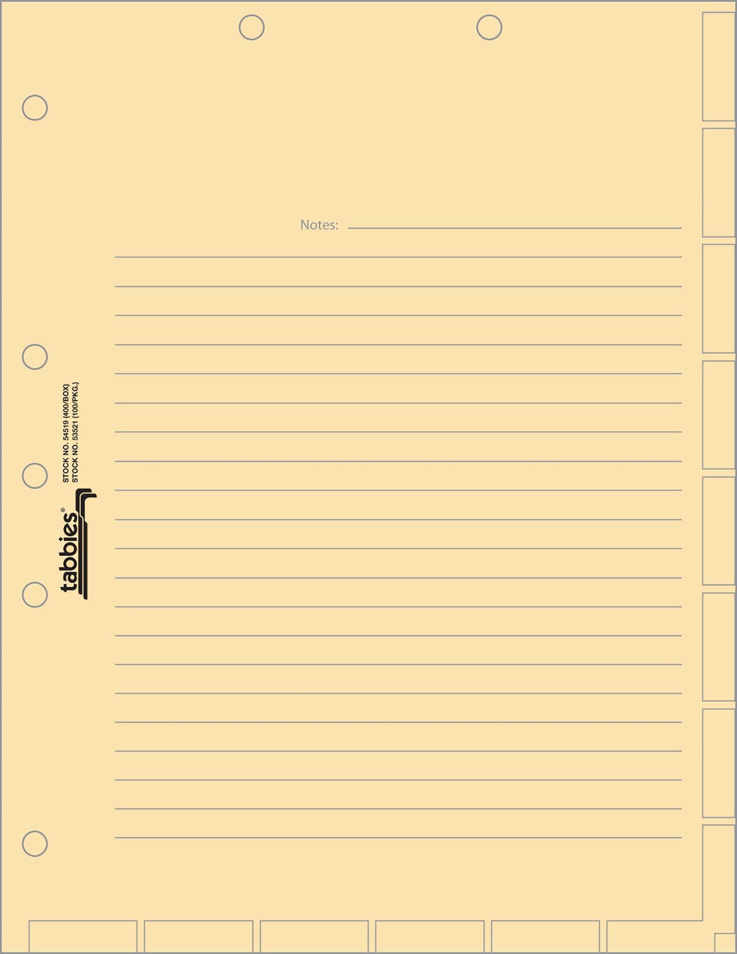 Tabbies 7-hole Manila Chart Divider Sheets (54519)