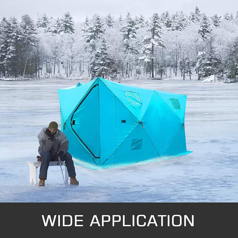 Blua Hopopula 8 Person Ice Fishing Shelter Zelt 300D Oxford Gewebe Tragbare Ice Shelter Starke wasserdichte Ice Fish Shelter f/ür Freien Angeln
