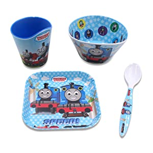 Finex Set of 4 - Blue Thomas the Train Meal Set - Cup, Spoon, Bowl, Plate Kids Dinner Meal Dishes Feeding set for toddlers Microwave Dishwasher safe