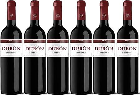 Vino tinto Durón Crianza 2017, uva 100% tempranillo de la D.O.CA. Rioja. Crianza en barrica de roble. Lote de 6 botellas x 75cl