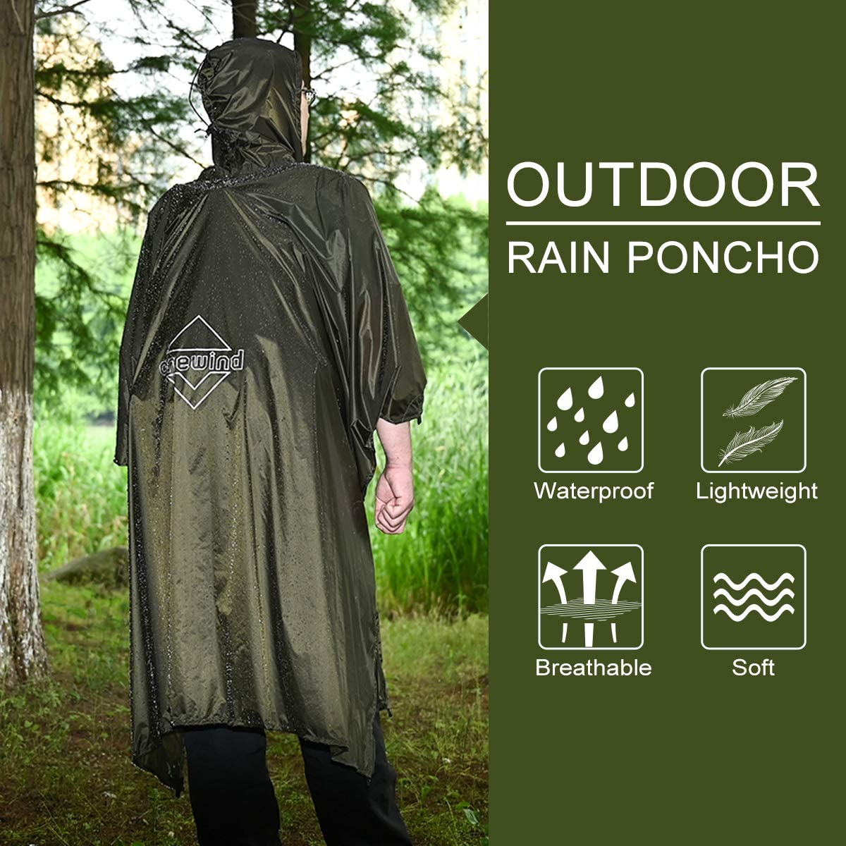 Ideal for Camping Backpacking Hiking onewind Hood Rain Poncho Ultralight Silnylon Rain Cover Multi Use Raincoat Men//Women Hunting