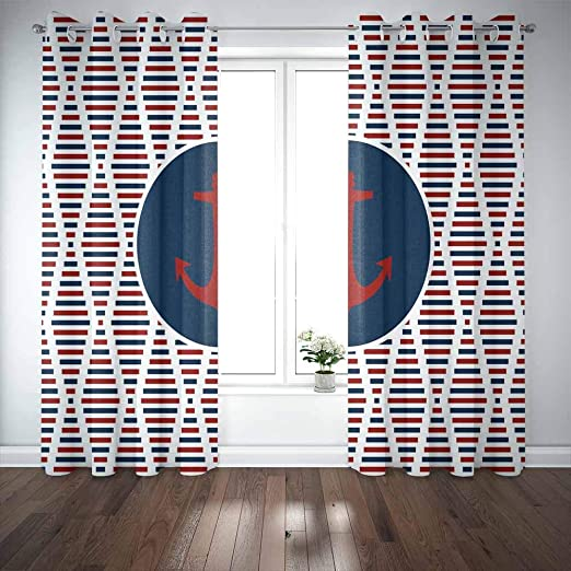 Amazon Com Mrcrypos 52x63 Inch Cool Curtains For Windows Nautical Pattern Background Diamond Looking Shapes Made From Rectangle Squares Red 2 Panels Rustic Window Curtains For Bedroom Kitchen Bathroom Home Kitchen