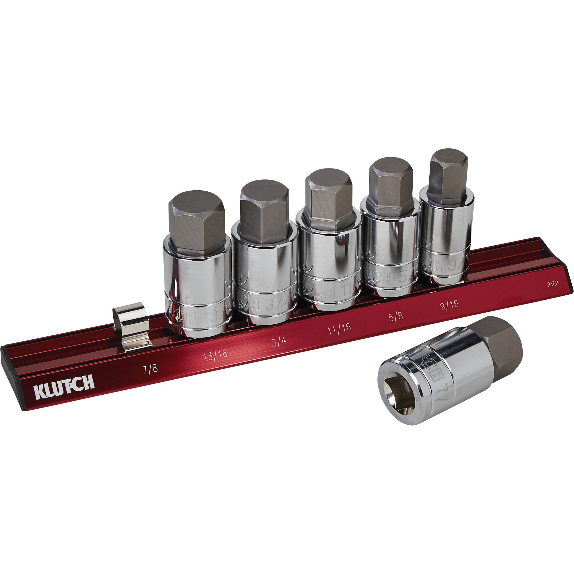 Klutch SAE Hex Bit Socket Set - 6-Pc.