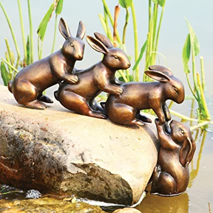 Ebros Team Work Bunny Rabbit Friends With Helping Hands Statue 18u0026quot;Long  Aluminum Pond Lawn