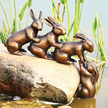 Delightful Home U0026 Garden Decor Helping Hands Bunny Rabbit Friends Statue Aluminum Pond  Lawn Ornament