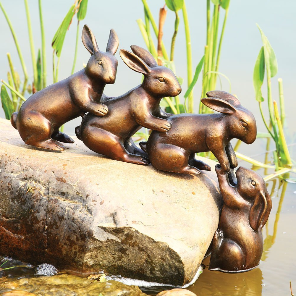 Home & Garden Decor Helping Hands Bunny Rabbit Friends Statue Aluminum Pond Lawn Ornament by Gifts & Decors