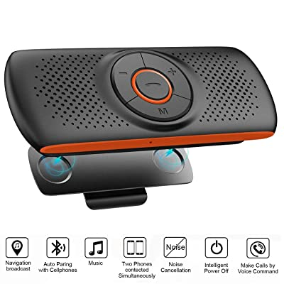 Bluetooth Handsfree Speakerphone for Cell Phone, Wireless Car Kit Music Player Adapter with Back-Clip, Portable Bluetooth Speaker for Home/Sport/Outdoor Use, Work with Siri/Google Assistant/TF Card: Home Audio & Theater