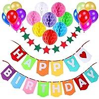 Decoración Cumpleaños, Gyvazla Pancartas Happy Birthday + 8