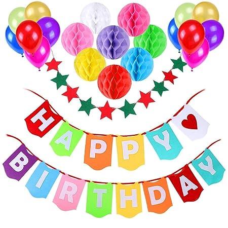 Decoración Cumpleaños, Gyvazla Pancartas Happy Birthday + 8 Pompón Bolas de Papel + 1 Bandera de cadena de estrellas + 12 Globos Perlados, Party ...