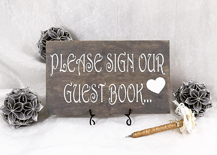 Amazon.com: Please Sign Our Guest Book Wedding Sign, Please Sign ...