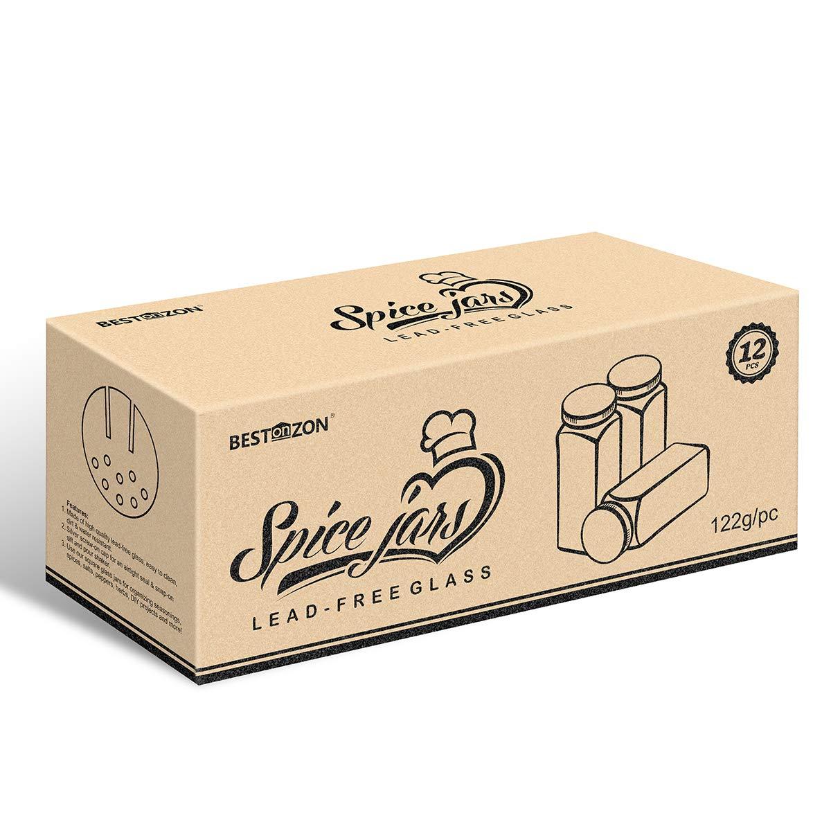 BESTONZON 12PCS Spice Jar Square Glass Container Spice Bottle Cocina y contenedor de condimento para acampar exterior