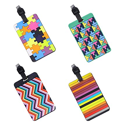 EQLEF® Set Of 4 Lovely Secure Luggage Tags PVC Suitcase luggage tags  Business Card Holder 103eb4a19a25d
