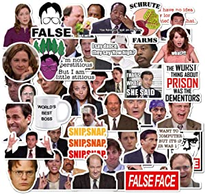 The Office Sticker, 50 Pack The Office Funny Laptop Stickers, Waterproof Vinyl Decals for Water Bottle, Hydro Flask, Car, Bumper, Phone, Computer, Skateboard, Motorcycle, Luggage