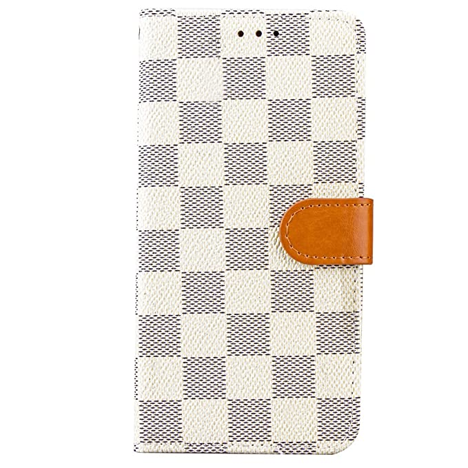 separation shoes edcb0 1bae8 Samsung Galaxy S9 Case Wallet Luxury Grid Checker Faux Leather Fashion  Designer Magnet Flip Case Skin Cover Stand Card Holder S9 (White)