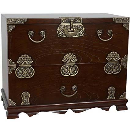 Amazon.com: Oriental Furniture Korean Bandaji Antique Design Blanket Chest:  Kitchen U0026 Dining
