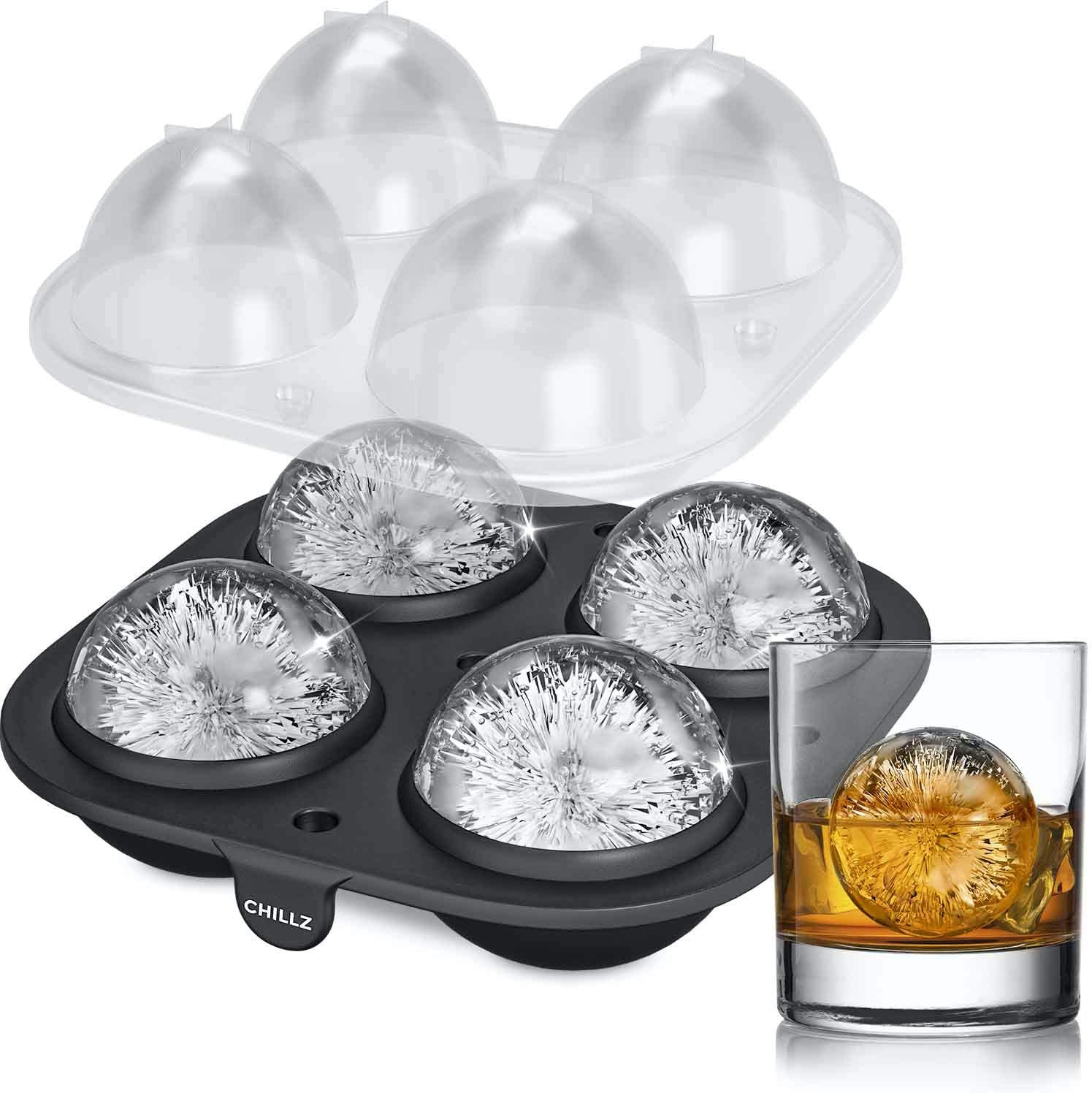 Chillz Extreme Ice Ball Maker - Ice Sphere Mold - Ice Ball Mold Tray - Makes 4 x 2.5 inch Ice Balls (1 Tray)
