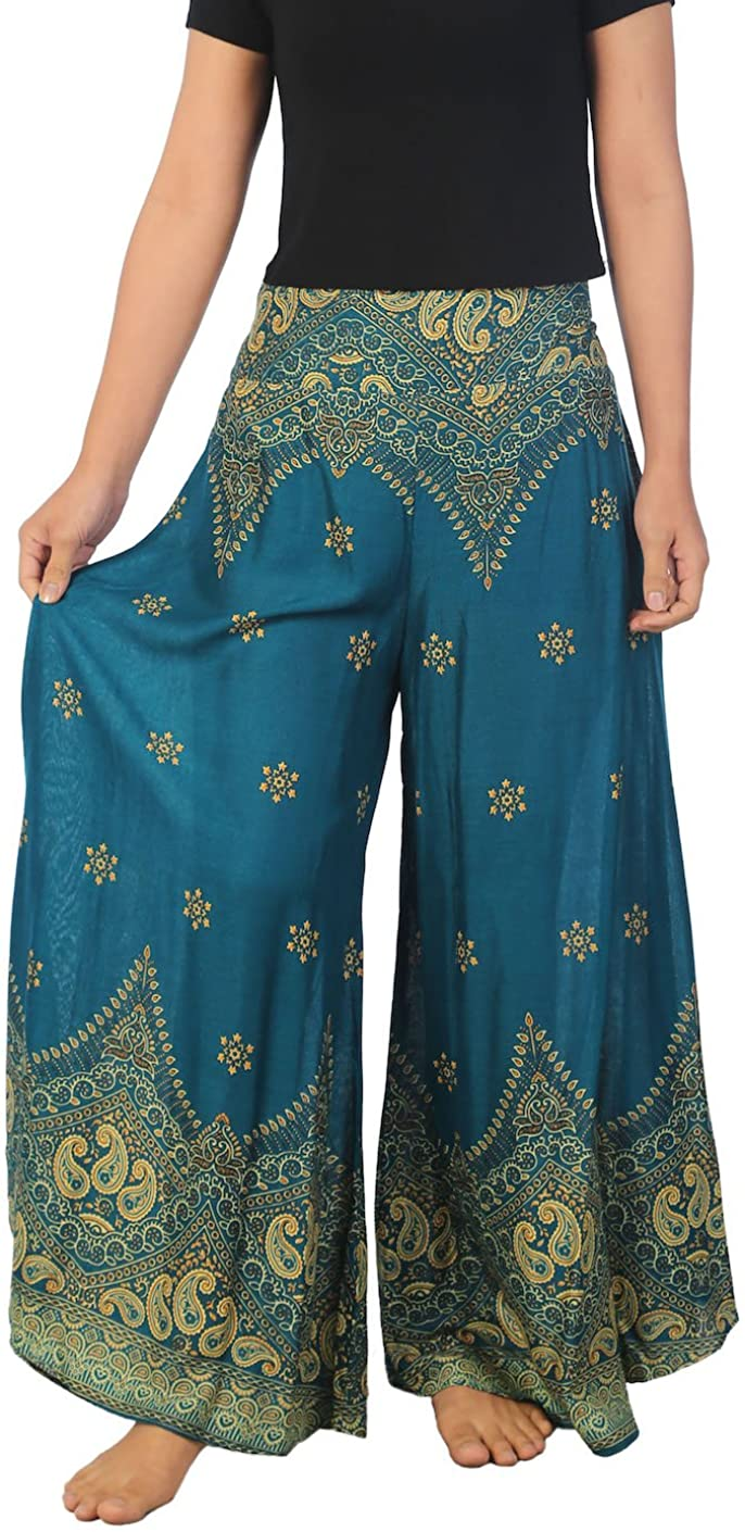 Lannaclothesdesign Palazzo Pants for Women Wide Leg Boho Harem Yoga Pants 37 Inches Length