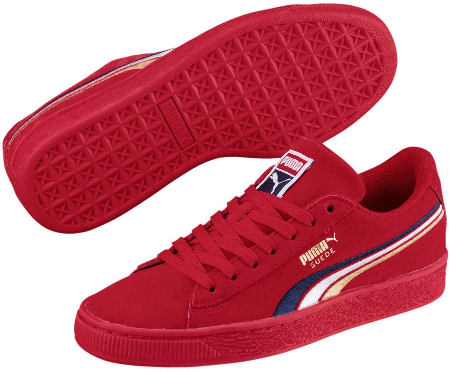 PUMA Unisex-Kids Suede Classic Multicolor Emboss Sneaker, Ribbon Red-Peacoat White Team Gold, 6 M US Big Kid