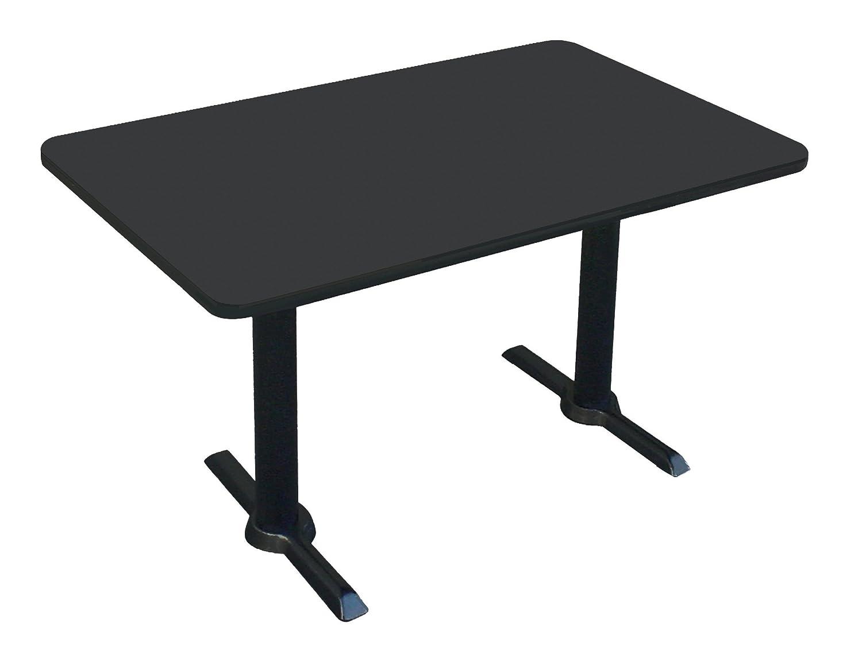 Correll BTT3060-07 -30 x60 Rectangular Bar, Caf , Break Room Table, Black Granite Top Black T Bases, Made in The USA