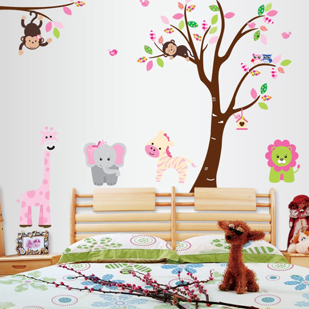 Amazon cartoon cute monkeys big trees removable wall stickers amazon cartoon cute monkeys big trees removable wall stickers home decor decals for childrens room nursery set of 2 sheets animal tree baby amipublicfo Choice Image