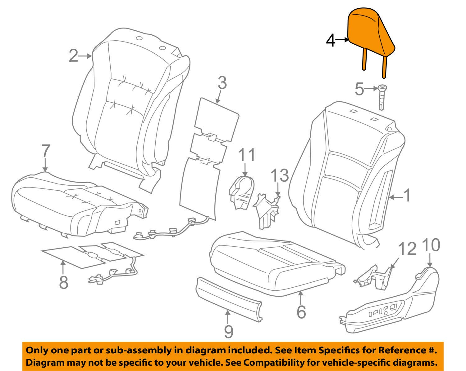 Honda Genuine 81140-T3L-A41ZB Headrest Assembly Front