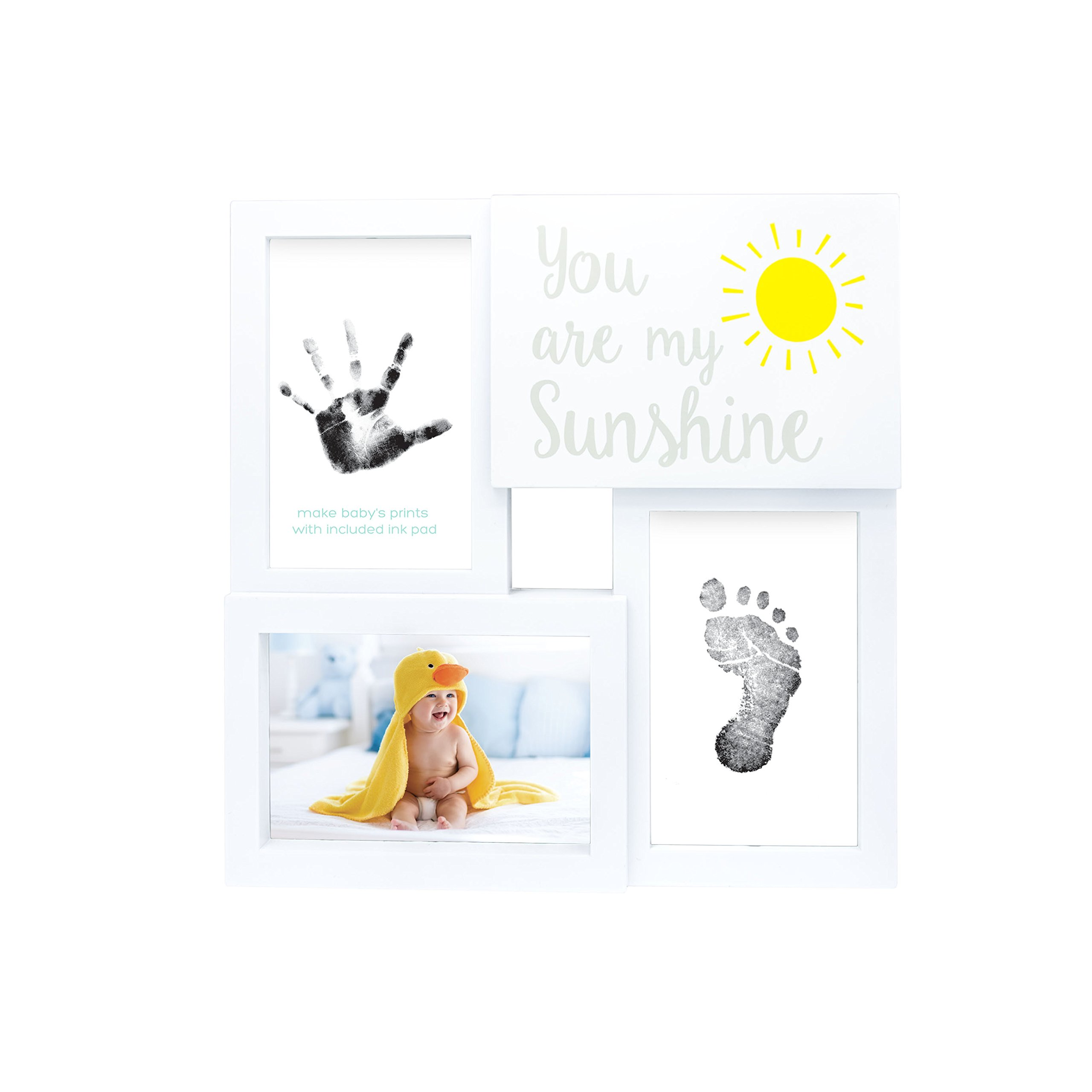 Tiny Ideas Baby Prints Collage Keepsake Frame with Included Ink Pad, You are My Sunshine, White/Black