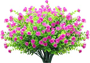 Pauwer 20 Bundles Artificial Flowers Outdoor UV Resistant Fake Flowers Shrubs Plants No Fade Faux Plastic Plants for Hanging Planter Home Porch Window Patio Decor, Fuchsia