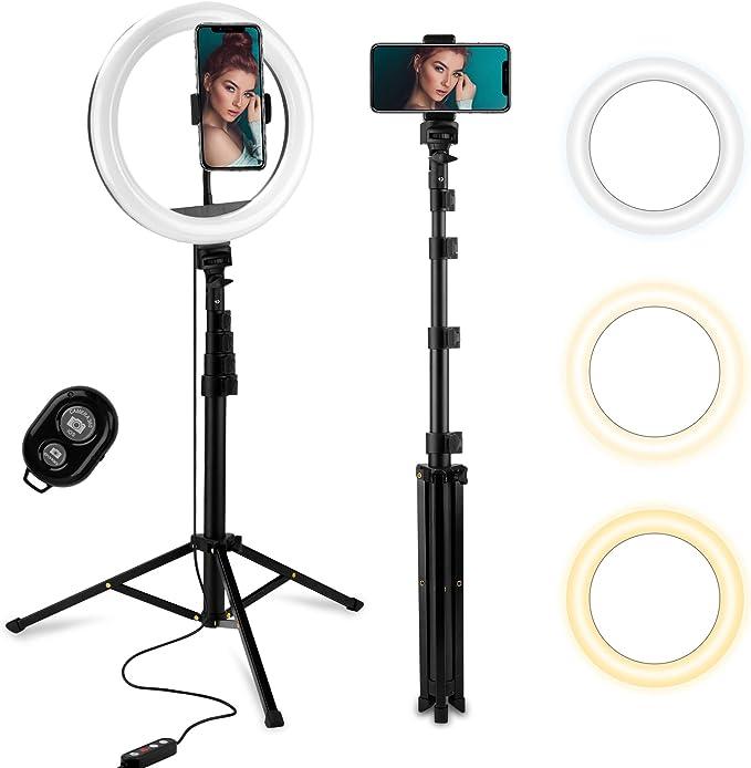 Fotopro 10 Ringlicht Mit 63 Stativ Led Selfie Ringleuchte Mit Handyhalter Fernbedienung 3 Farbe 10 Helligkeitsstufen