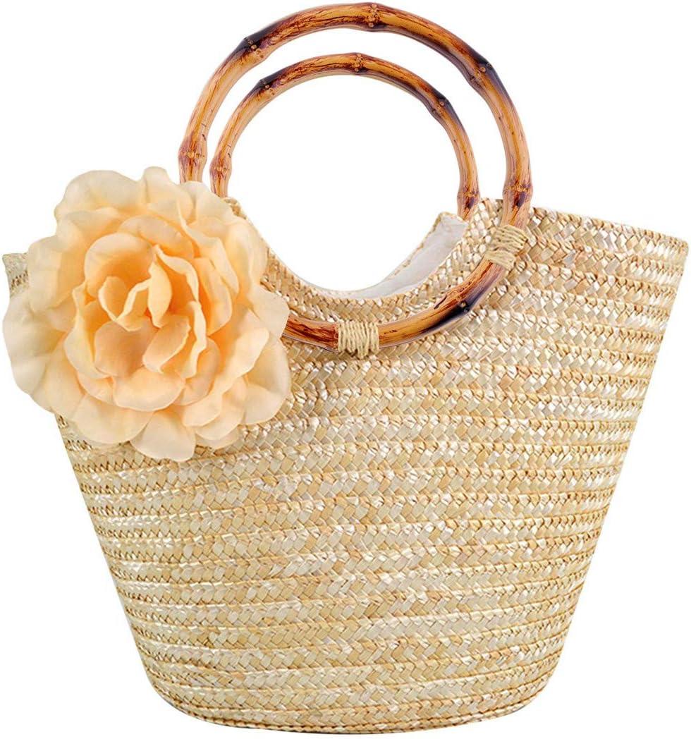 6Pcs Round Bamboo Purse Handbag Handles Replacement for Handmade Bag Beach Bag Handbags Straw Bag Purse Handles
