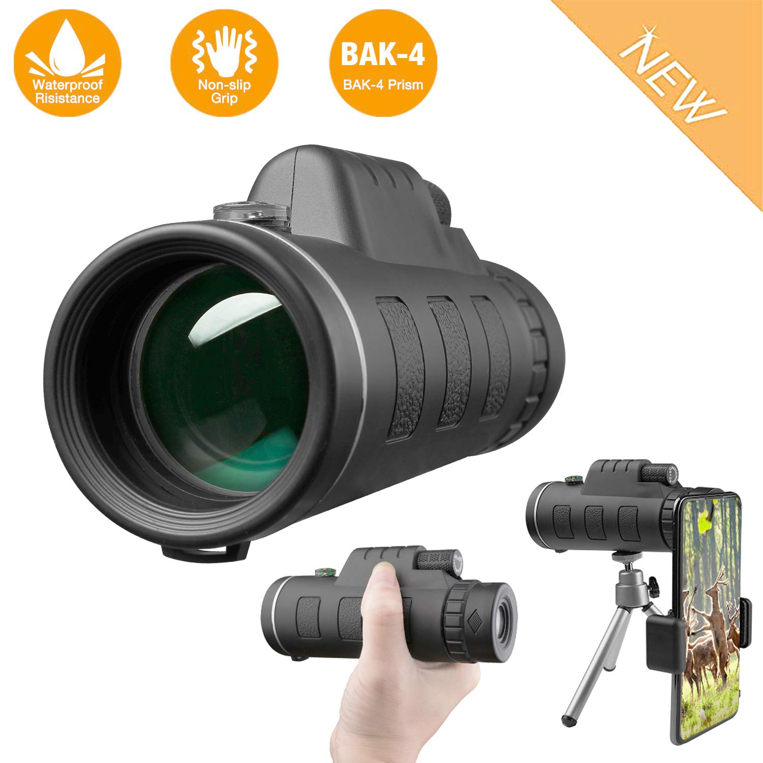 DOTSOG 40X60 High Power HD Waterproof Monocular Telescope,Monocular Scope with Smartphone Holder,BAK4 Prism for Concert Bird Watching Hunting Camping Travelling Wildlife-[2019 Upgraded Version] by DOTSOG