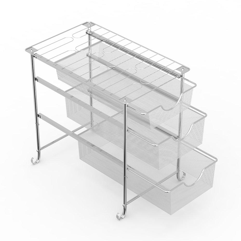 Under Sink Organizer, Stackable Sliding Basket Drawers Organizer (DF007-4) (3 - Tier)