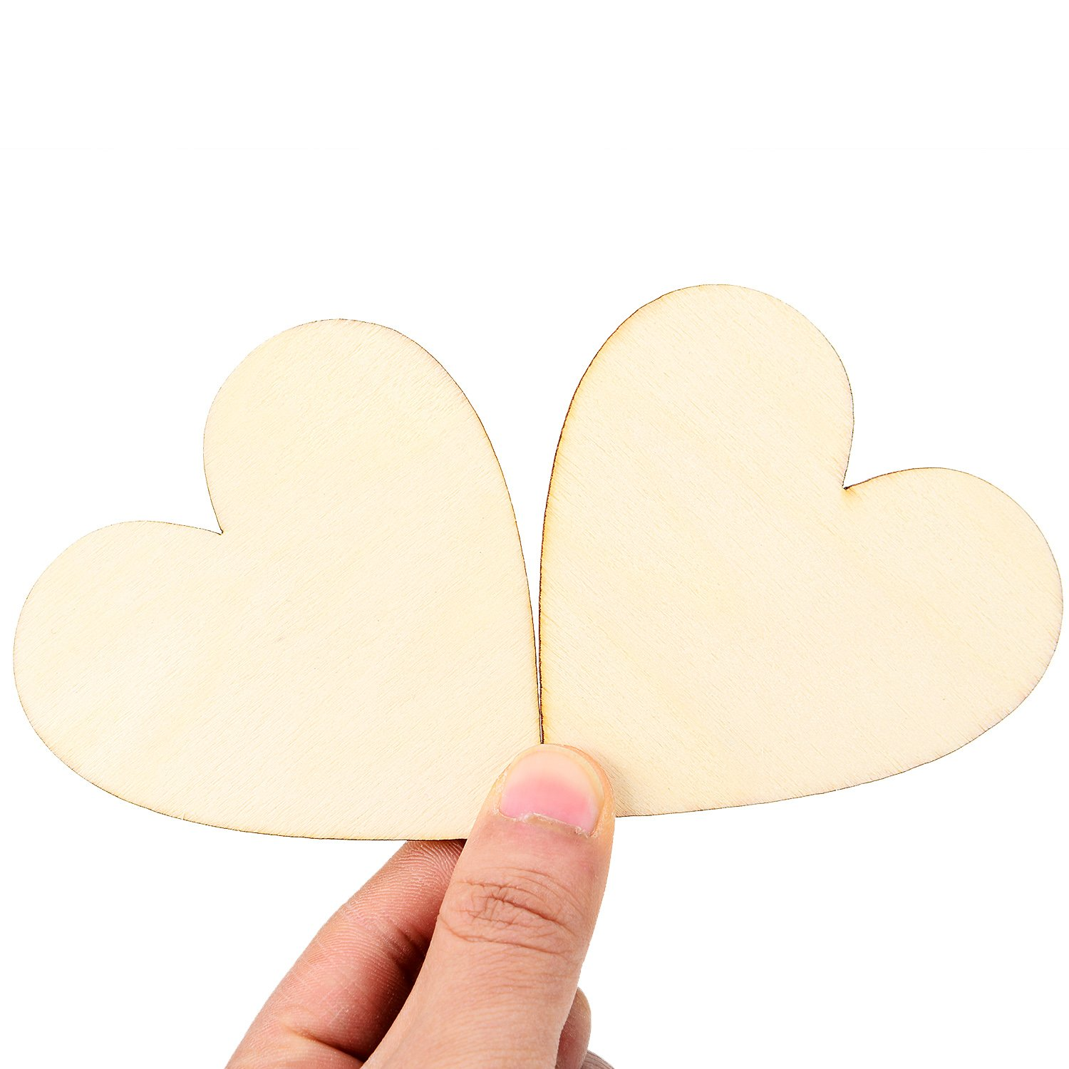 50 Pieces Decor Arts Crafts DIY Frienda 3.15 Inch Wood Hearts Slices Wooden Discs Heart Shaped Embellishment for Wedding 3.15 inch