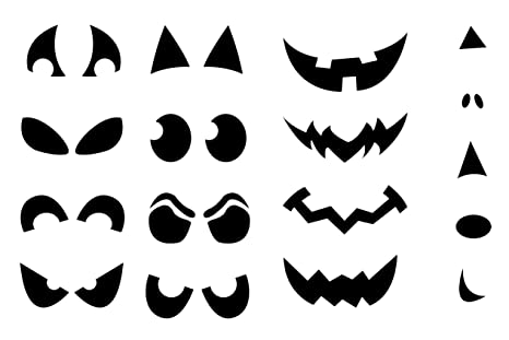 Halloween Calabaza cara vinilo adhesivo – Lote de plantillas para Cut Outs desposable nariz ojos boca