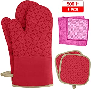 KEGOUU Oven Mitts and Pot Holders 6pcs Set, Kitchen Oven Glove High Heat Resistant 500 Degree Extra Long Oven Mitts and Potholder with Non-Slip Silicone Surface for Cooking (Red)