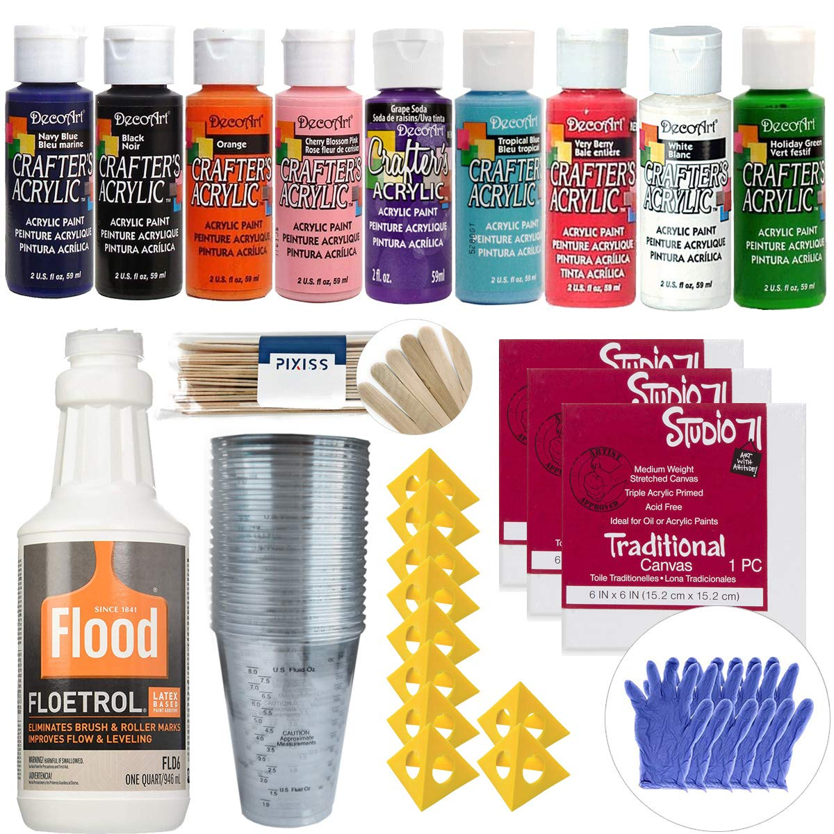 Acrylic Paint Pouring Bundle - Floetrol, Cups, 10x 2-Ounce DecoArt Acrylic Paints, 3X 6-inch Canvases, 10x Painter's Pyramids, Mixing Sticks, Gloves, Complete Kit for Paint Pouring 10x Painter' s Pyramids Various