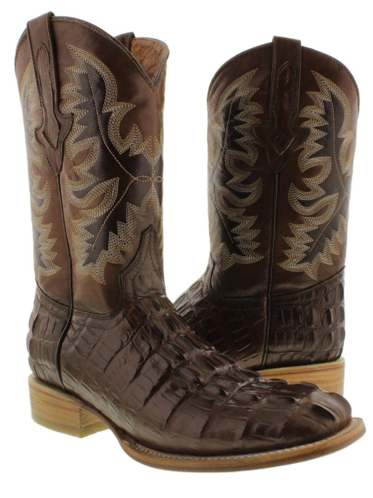 El Presidente Men's Brown Crocodile Tail Cowboy Boots Natural Sole Square Toe 12.5 D