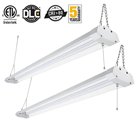 Superb Kohree Led Shop Light For Garage Linkable Utiligty Lighting Integrated Double Fixture Worklight Basement Workbench Ceiling Light With Pull Chain 4Ft Machost Co Dining Chair Design Ideas Machostcouk