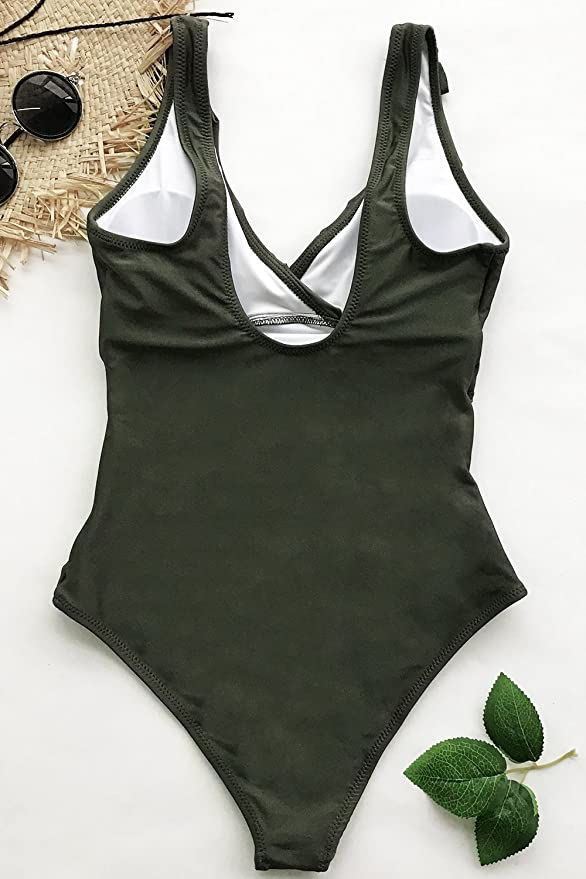 e598764a5fc CUPSHE Women's Sense Your Fragrance Falbala One-Piece Swimsuit XX-Large  Army Green at Amazon Women's Clothing store: