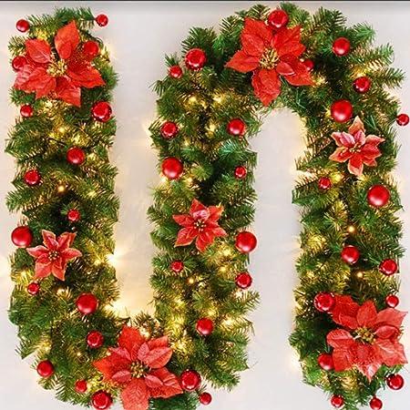 SALCAR Guirnalda de Navidad Verde 3m Guirnalda de Abeto para Chimeneas Escaleras Puertas