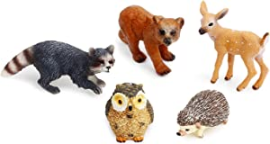 UANDME Forest Animal Figures Cake Toppers, Woodland Creatures Toy Figurines Babies Set