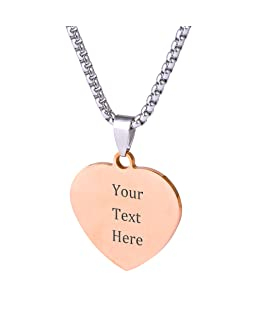 Caramel Custom Stainless Steel Pendant Necklace with Personalized Engraving 3 Shapes and 9 Chains to Choose (Rose Gold Color & Heart Shape)