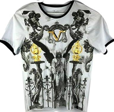 VERSACE 19.69 ABBIGLIAMENTO - Camiseta para Hombre, Cuello en V, Color Blanco, Dorado y Negro - Negro - Medium: Amazon.es: Ropa y accesorios