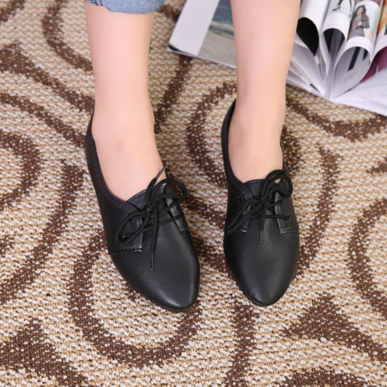 Datework Women Slip On Comfort Flat Shoes B01L8EFP92 38 M EU|Black