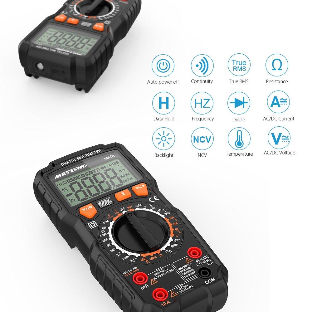 Multim/ètre Num/érique Meterk/® TRMS 6000 Points Testeur de Tension AC//DC,Courant AC//DC,R/ésistance,Capacitance,Continuit/é,Fr/équence,Duty Cycle,NCV,Temp/érature,Diode,Gamme manuelle