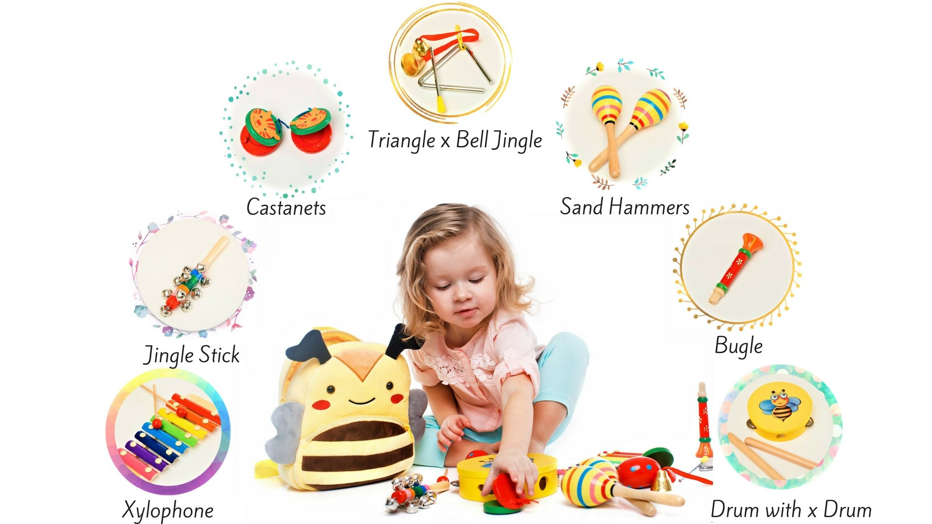 Musical Toys - Musical Instrument - Music Set - Baby Musical Instruments - Music Toys - Musical Toys for Girls & Boys - Musical Play Set - Premium Gift Musical Set 17Pcs with Cute Carrying Bee Bag by Sabuzza Toys