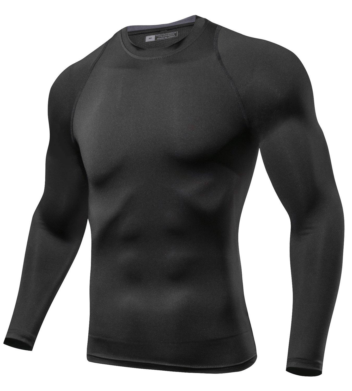 Lavento Men's Compression Shirts Crewneck Long-Sleeve Dri Fit Workout Shirts (1 Pack-Black,Small)