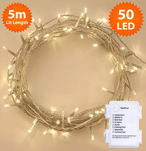 the latest a9513 deaef Fairy Lights 50 LED 5m Warm White Timer Indoor Outdoor Christmas Lights  Festive Wedding Bedroom Novelty Decorations Tree String Lights Battery  Powered ...